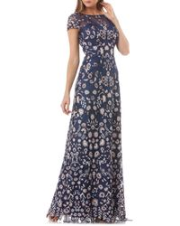 JS Collections Floral Embroidered Gown - Blue