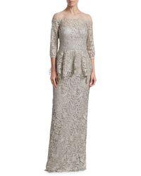 Teri Jon Peplum Lace Gown - Multicolor