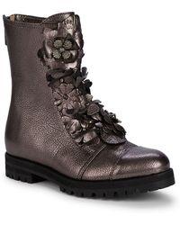 Jimmy Choo Havana Metallic Floral Applique Combat Boots - Multicolor