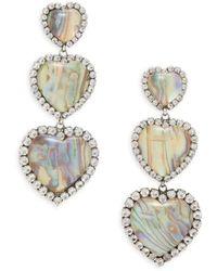 DANNIJO Women's Tate Silverplated, Resin Stone & Glass Crystal Triple-heart Earrings - Metallic