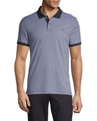 Calvin Klein Liquid Touch Striped Cotton Polo - Blue