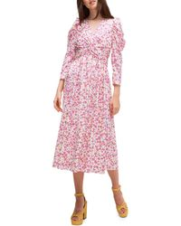 Kate Spade Marker Floral Devore Dress - Pink