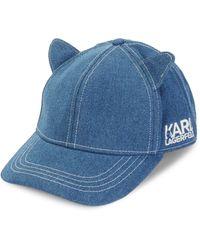Karl Lagerfeld Cat Ear Denim Baseball Cap - Black
