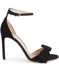 Valentino Bow Suede Ankle-strap Sandals - Black