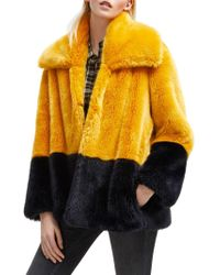 French Connection Sebille Colorblock Faux Fur Jacket - Yellow