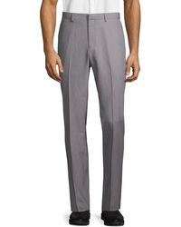 Saks Fifth Avenue Flat-front Dress Pants - Gray