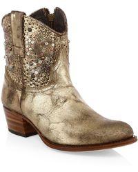 Frye Deborah Studded Leather Boots - Metallic