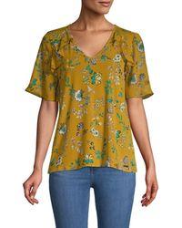 Calvin Klein Women's Floral Short Bell-sleeve Top - Ochre - Size S - Yellow