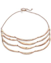 Alexis Bittar Encrusted 10k Rose Goldplated 4-strand Draped Bib Necklace - Multicolour