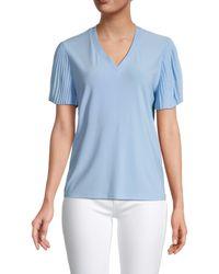 Tommy Hilfiger Women's Pleated Short Sleeve Top - Breeze - Size Xs - Blue