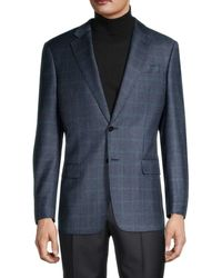 Armani Standard-fit Virgin Wool & Cashmere Check Sportcoat - Grey