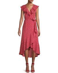 Max Studio Ruffled Floral Wrap Dress - Multicolour
