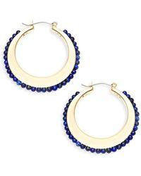 Ava & Aiden - Goldtone Lapis Crescent Hoop Earrings - Lyst