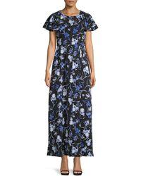 Tommy Hilfiger Floral Flutter-sleeve Long Dress - Blue