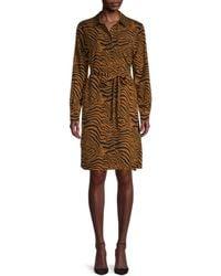 Pure Navy Tiger-print Long-sleeves Dress - Brown