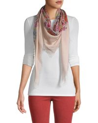 Valentino Floral-print Frayed Scarf - White
