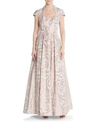 THEIA - Rose-print A-line Gown - Lyst
