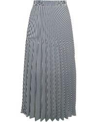 Max Studio Stripe Pleated Skirt - Blue