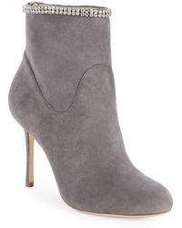 7641de50ab75d2 Badgley Mischka - Victoria Embellished Suede Boots - Lyst