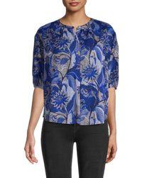 Velvet Floral Cotton Top - Blue