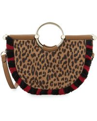 Vince Camuto Small Fringe Leopard-print Half-moon Crossbody Tote - Brown