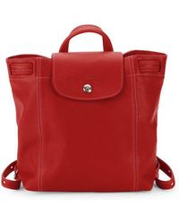 Longchamp - Le Pliage Cuir Leather Drawstring Backpack - Lyst