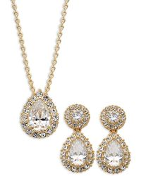 Adriana Orsini Goldtone & Crystal Pendant Necklace & Drop Earrings Set - Metallic