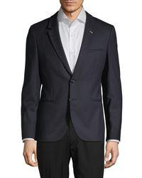 HUGO Notch Lapel Wool-blend & Faux Leather Sportcoat - Blue