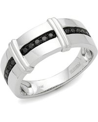 Effy Black Diamond And 14k White Gold Ring - Metallic