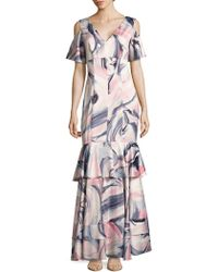 Kay Unger - Swirl-print Cold-shoulder Tiered Gown - Lyst