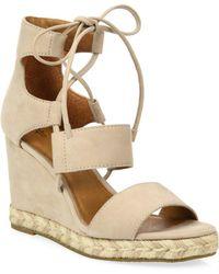 Frye - Roberta Ghillie Nubuck Leather Wedge Sandals - Lyst