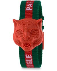 Gucci Resin Carved Tiger Nylon Strap Watch - Red