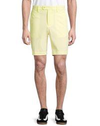 J.Lindeberg Men's Flat-front Shorts - Yellow - Size 38