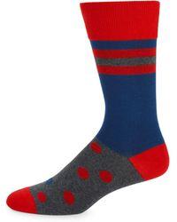 Bruno Magli - Polka Dot & Stripe Socks - Lyst