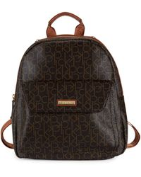 Calvin Klein Monogram Faux Leather Backpack - Brown
