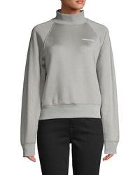 T By Alexander Wang Raglan-sleeve Cotton-blend Sweatshirt - Metallic
