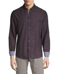 Report Collection Button-down Printed Shirt - Purple