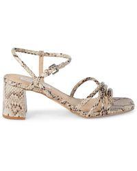 Saks Fifth Avenue Blythe Embossed Snake-print Block Heel Sandals - Natural