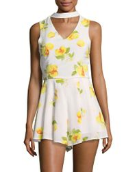 Saks Fifth Avenue - Floral Print Choker Romper - Lyst