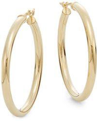 """Saks Fifth Avenue - 14k Yellow Gold Hoop Earrings/1.2"""" - Lyst"""
