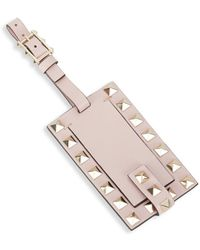 Valentino Leather Rockstud Luggage Tag - Pink