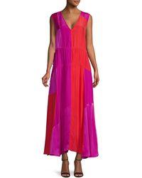 AMUR Lotta Colour - Blocked Silk Maxi Dress - Pink