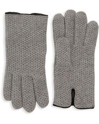 Portolano Textured Honeycomb Knit Gloves - Grey