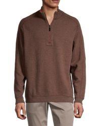 Tommy Bahama Men's Flipsider Reversible Half-zip Pullover - Dark Taupe - Size Xxl - Brown