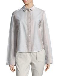 Becken Women's Striped Flared Cotton Shirt - Stripes - Size 4 - Grey