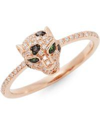 Effy Diamond, Emerald & 14k Rose Gold Leopard Head Ring - Metallic