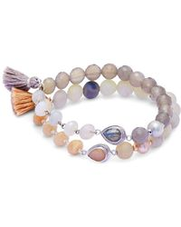 Chan Luu - Gray Onyx, Agate And Sterling Silver Bracelet - Lyst