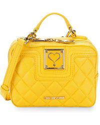 Love Moschino - Quilted Faux Leather Mini Top Handle Bag - Lyst