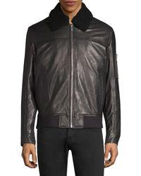 HUGO Lanzo Shearling Collar Leather Bomber Jacket - Black