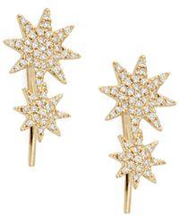 Saks Fifth Avenue - 14k Yellow Gold & Diamond Crawler Earrings - Lyst